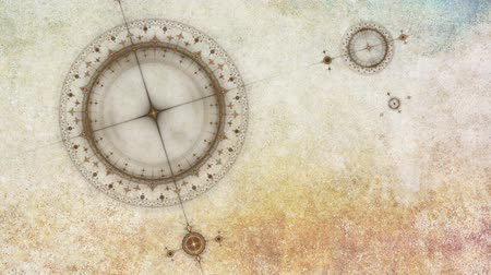 náutico : old clock or ancient nautical instrument, animation of cogs working together on grunge parchment background, 30fps, HD1080,  seamless loop