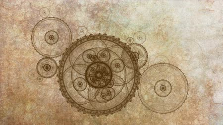 tekerlekler : old clock mechanism, ancient metallic cogwheel on grunge parchment  background, animated abstract illustration, 30fps, HD1080, seamless loop