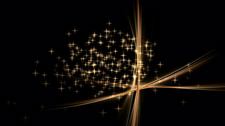 dinamik : Festive abstract background with stars and rays of light dynamic linear  golden stream with stars  abstract  starry motion on black festive background animated abstract illustration 30fps HD1080 seamless loop Stok Video