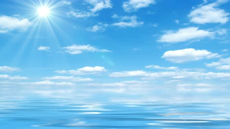 huzurlu : Beautiful Sea On Sunny Day With Blue Sky Reflecting In Water  Beautiful sea horizon sunshine blue sky with fluffy clouds and water  reflection. Tranquil scene animation abstract illustration 30fps HD1080 seamless loop Stok Video