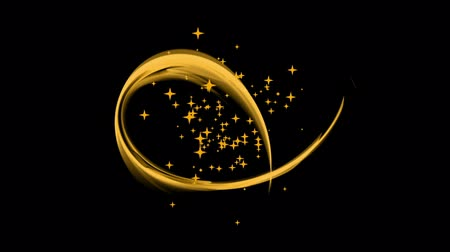 mese : Festive Background with Stars Golden Stream Circular Motion  Dynamic rotational motion with burst of stars wavy flowing energy on black festive background abstract illustration animation 30fps HD1080 seamless loop