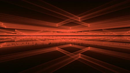 převod : Internet Concept Matrix Fiery Red Geometrical Perspective  Cubic geometrical horizon with binary code data flow communication  rays stretching off to infinity fantasy horizon  abstract illustration animation 30fps HD1080 seamless loop