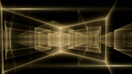 black yellow : Golden geometrical horizon stretching off to infinity - dynamic yellow translucent cubes rotating in perspective with rays of light on black background, animated abstract illustration, 30fps, HD1080, seamless loop