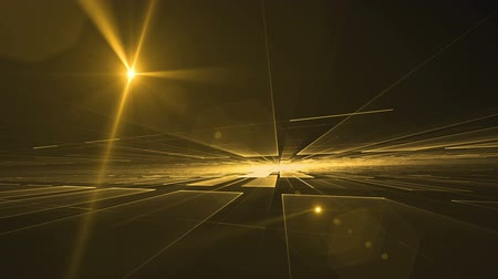 kitalálás : Golden geometrical horizon with light flare, rotating in all directions - dynamic surrealistic yellow geometrical perspective with ray of light, stretching off to infinity, colorful abstract 3d on black background, abstract illustration, animation,  seaml