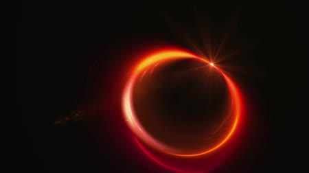 yuvarlak : Dynamic fiery rotational motion forming a circle with flare, red circular motion with ray of light, dynamic red stream, abstract motion on black background, animated illustration, seamless loop