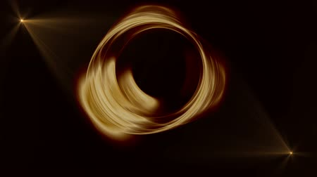 rotační : Golden circular motion, dynamic rotation as a metaphor of speed and power, flowing energy with rays of light on black background, animated illustration, seamless loop