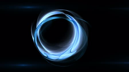 rotational : Dynamic blue rotational motion with beautiful lens flare effect, wavy flowing energy on black  background, animation, abstract illustration, 30fps, HD1080, seamless loop