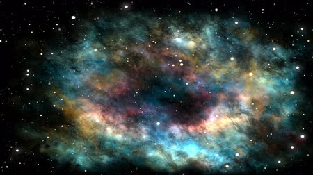 Colorful nebula and stars, universe, traveling through the cosmos, space clouds, several megastars and star fields in deep space, dynamic background, animation, abstract illustration Стоковые видеозаписи