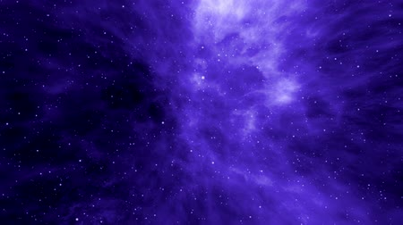 Universe, blue nebula, planets and stars, flying through imaginary nebula, space clouds and star fields in deep space, several megastars sparkling, dynamic background, animation, abstract illustration