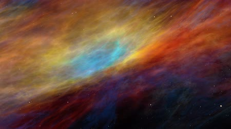 gömbölyű : Universe, beautiful colorful nebula and stars, journey through imaginary nebula and star fields in deep space, dynamic background, animation, abstract illustration, seamless-loop
