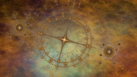 field measurements : Imaginary travelling through time and space. Deep space, colorful nebula, star fields and ancient nautical instrument.  Vintage motion background.  Animation, abstract illustration, seamless loop Stock Footage