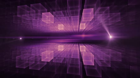 Purple cubic geometrical perspective stretching off to infinity with flare and rays of light, animation, abstract illustration, 30fps, HD1080, seamless loop Стоковые видеозаписи