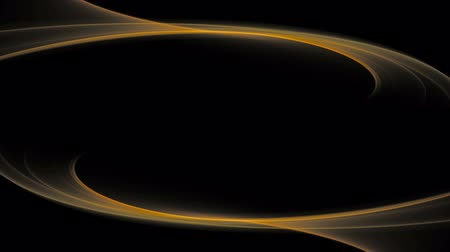 Golden lines in circular motion, mirroring and forming elegant frame.  Wavy flowing energy on black background with copy space. Animation, abstract illustration, seamless loop Стоковые видеозаписи