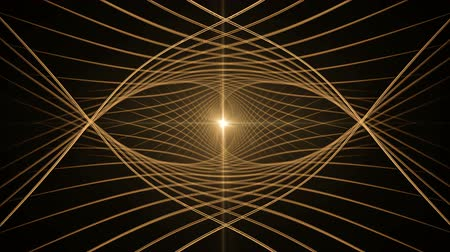 Golden wires with rays of light rotating. Circular dynamic motion on black background. Animation, abstract illustration, seamless loop Стоковые видеозаписи