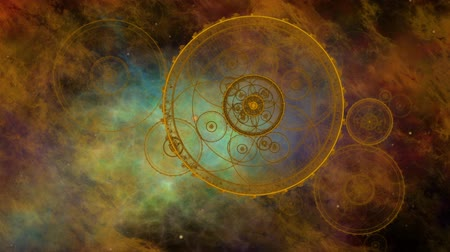Journey through space and time, fantasy.  Colorful nebula, deep space, star fields and ancient nautical instrument.  Vintage motion background.  Animation, abstract illustration, seamless loop