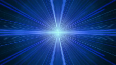 Blue twinkling light streaks in perspective stretching off to infinity, rays of light. Burst of light, abstract illustration, animation, seamless loop