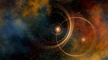 Imaginary traveling through time and space. Deep space, colorful nebula, star fields and ancient nautical instrument. Vintage motion background.  Animation, abstract illustration, seamless loop Стоковые видеозаписи