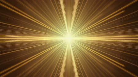 Yellow twinkling light streaks in perspective stretching off to infinity, rays of light. Burst of light, abstract illustration, animation, seamless loop Стоковые видеозаписи