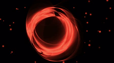 Dynamic red rotational motion with twinkling lights.  Wavy flowing energy on black background.  Animation, abstract illustration, seamless loop Стоковые видеозаписи