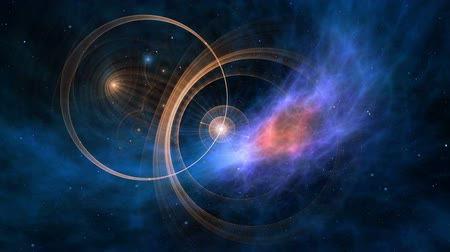 astroloji : Fantasy, journey through space and time. Deep space, colorful nebula, star fields and ancient nautical instrument. Vintage motion background.  Animation, abstract illustration, seamless loop