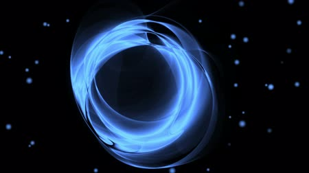 Dynamic blue rotational motion with twinkling lights.  Wavy flowing energy on black background.  Animation, abstract illustration, seamless loop