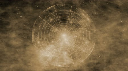 Fantasy, vintage journey through space and time. Sepia. Deep space, nebula, star fields and ancient nautical instrument. Vintage motion background.  Animation, abstract illustration, seamless loop