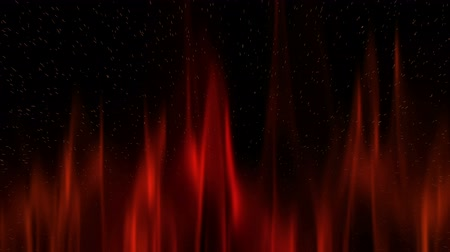 Vivid red fire flame on black with sparks, motion background.   Abstract illustration, animation, seamless loop