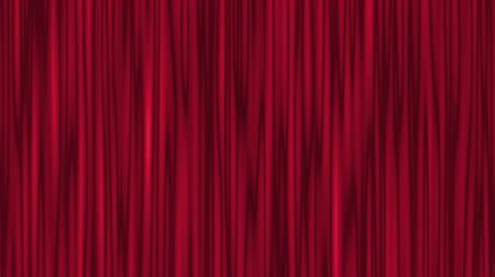 cortinas : Red theater curtain, stage background. Waving closed stage curtain. Abstract illustration, animation, seamless loop Vídeos
