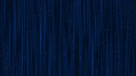 Blue theater curtain with golden twinkling stars, stage background. Waving closed stage curtain. Abstract illustration, animation, seamless loop