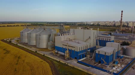 garner : Aerial of big steel grain silos elevators storage at the yellow wheat field. Agriculture industry 4k aerial video of flour plant. Bread production, harvest grain trade concept. Stock Footage