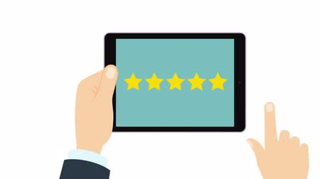 five stars : Giving rating stars on tablet. Ranking business with fave golden stars. Tick star. Having feedback, reputation and quality. with alpha channel