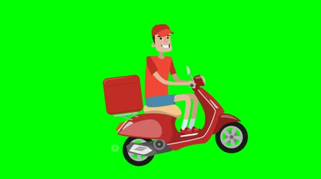 kurier : Food delivery service. Boy is riding on scooter and delivering fastfood. Wideo