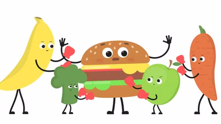 карикатура : Vegetables and fruits beat burger.
