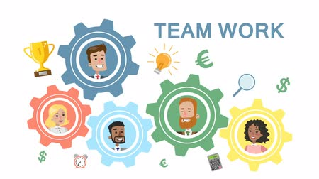 иконки : Team work business system. Стоковые видеозаписи