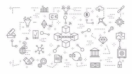 block chain : Blockchain icons set.