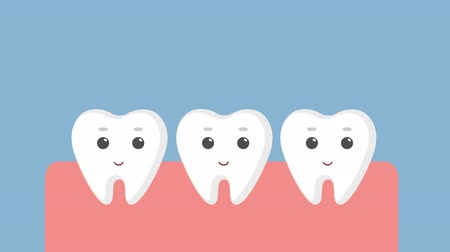 section : Cartoon gums with white teeth. Stock Footage