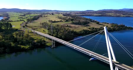 tasmania : Long spanning Batman Bridge by the Tamar river near Sidmouth, Tasmania. Stock Footage