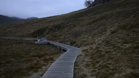 tasmania : Overland Circuit in Cradle Mountain, Tasmania on a snowy and overcast day. Stock Footage