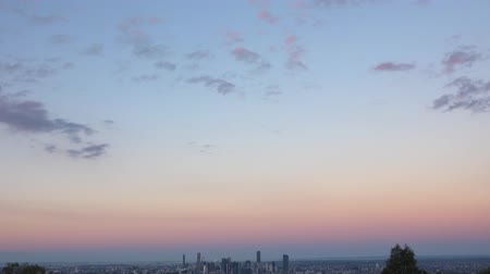 cbd : View of Brisbane City from Mount Coot-tha at sunset. Queensland, Australia. Stock Footage
