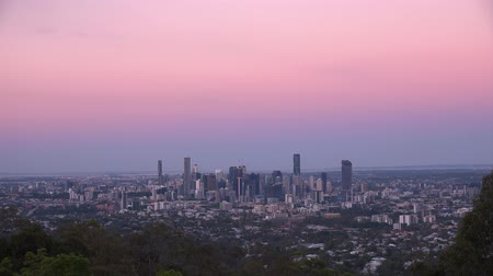 ha : View of Brisbane City from Mount Coot-tha at sunset. Queensland, Australia. Stock Footage