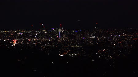 ha : View of Brisbane City from Mount Coot-tha at night. Queensland, Australia.
