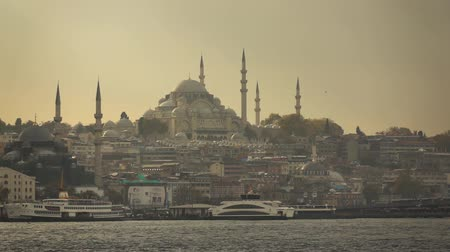 view of the city of Istanbul from the ship.Turkey