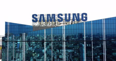 Kiev, Ukraine - April 7, 2018: Samsung facade business center building and Samsung sign with aerial view building in urban city.