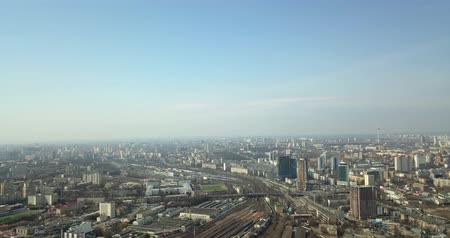 Panorama view of the city of Kiev from a birds eye view. Flight over the city.