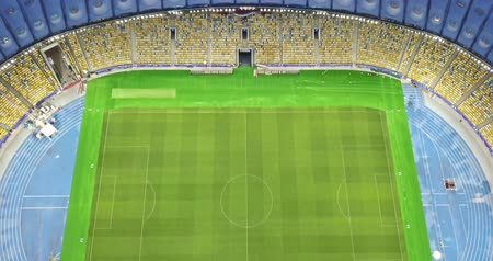 Ukraine, Kiev. May 19, 2018. National Sports Complex Olympic, stadium NSC Olimpiysky . Panoramic video from the drones in 4K. The stadium before final of the Champions League 2018 and pan of city.