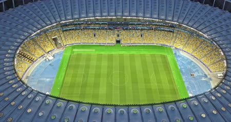 Ukraine, Kiev. May 19, 2018. National Sports Complex Olympic, stadium NSC Olimpiysky . Panoramic video from the drones in 4K. Preparation of the stadium for the final of the Champions League 2018.