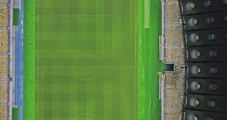 Ukraine, Kiev. May 19, 2018. National Sports Complex Olympic, stadium NSC Olimpiysky. Panoramic video from the drones, 4K from right to left. The stadium before the final of the Champions League 2018. Stok Video
