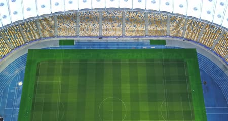Ukraine, Kiev. May 19, 2018. National Sports Complex Olympic, stadium. Panoramic shooting from the drones, 4K resolution from birds eye view to the football field.