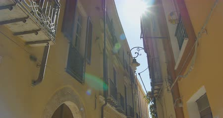 Walking in the narrow old european city. Old building tops view. Italy Wideo
