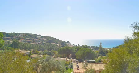 Mediterranean village view in mountains near sea. Italy, Sardinia Wideo
